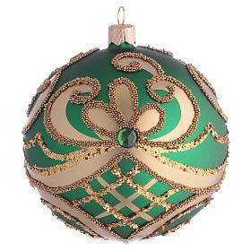 Bola de Navidad vidrio soplado verde y oro 100 mm s1