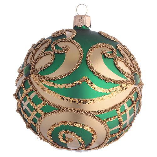 Bola de Navidad vidrio soplado verde y oro 100 mm 2