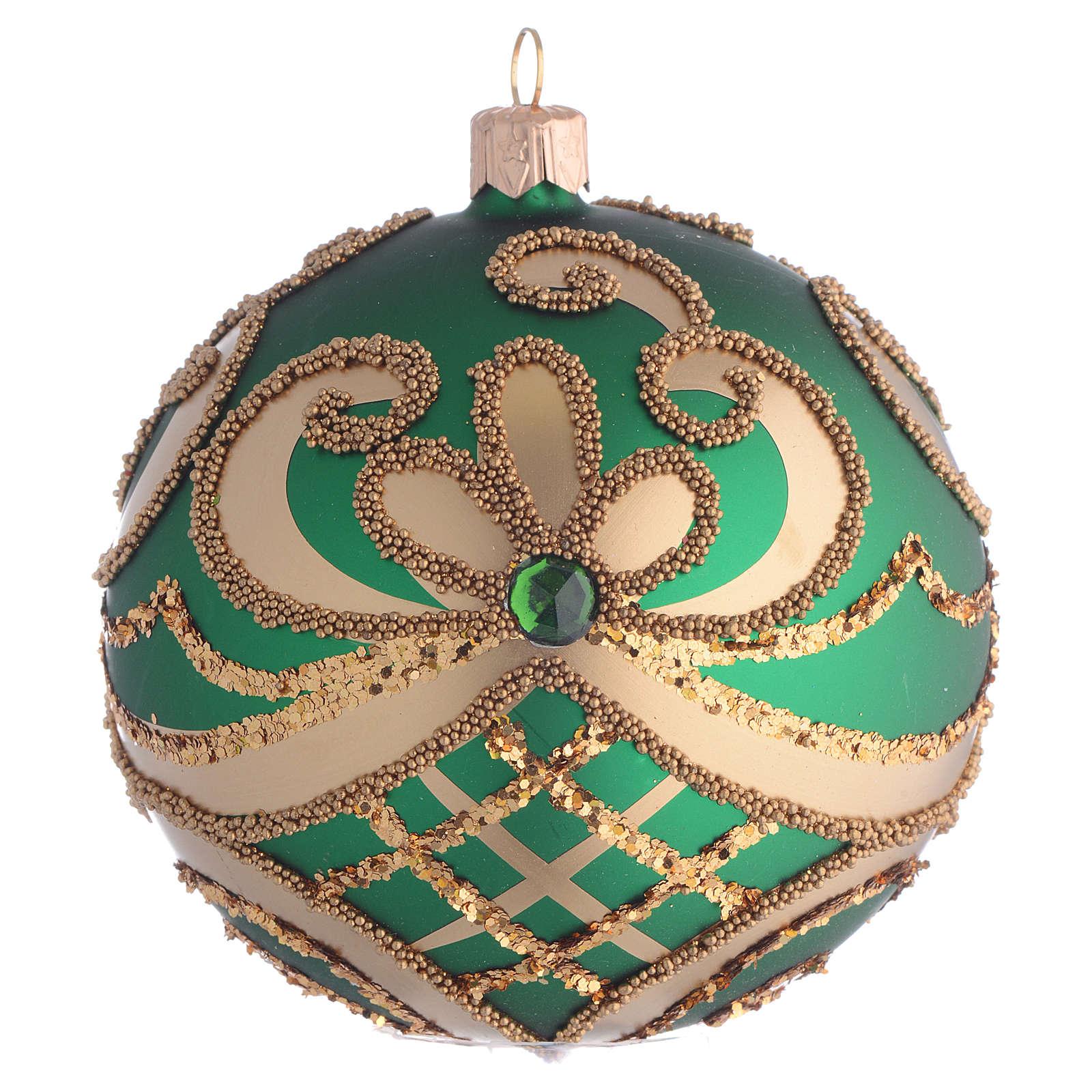 Pallina Albero Natale vetro soffiato verde oro 100mm 4