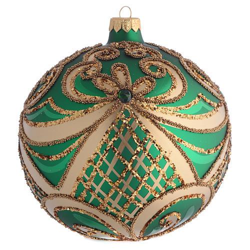 Bola de Navidad vidrio soplado verde y oro 100 mm 1