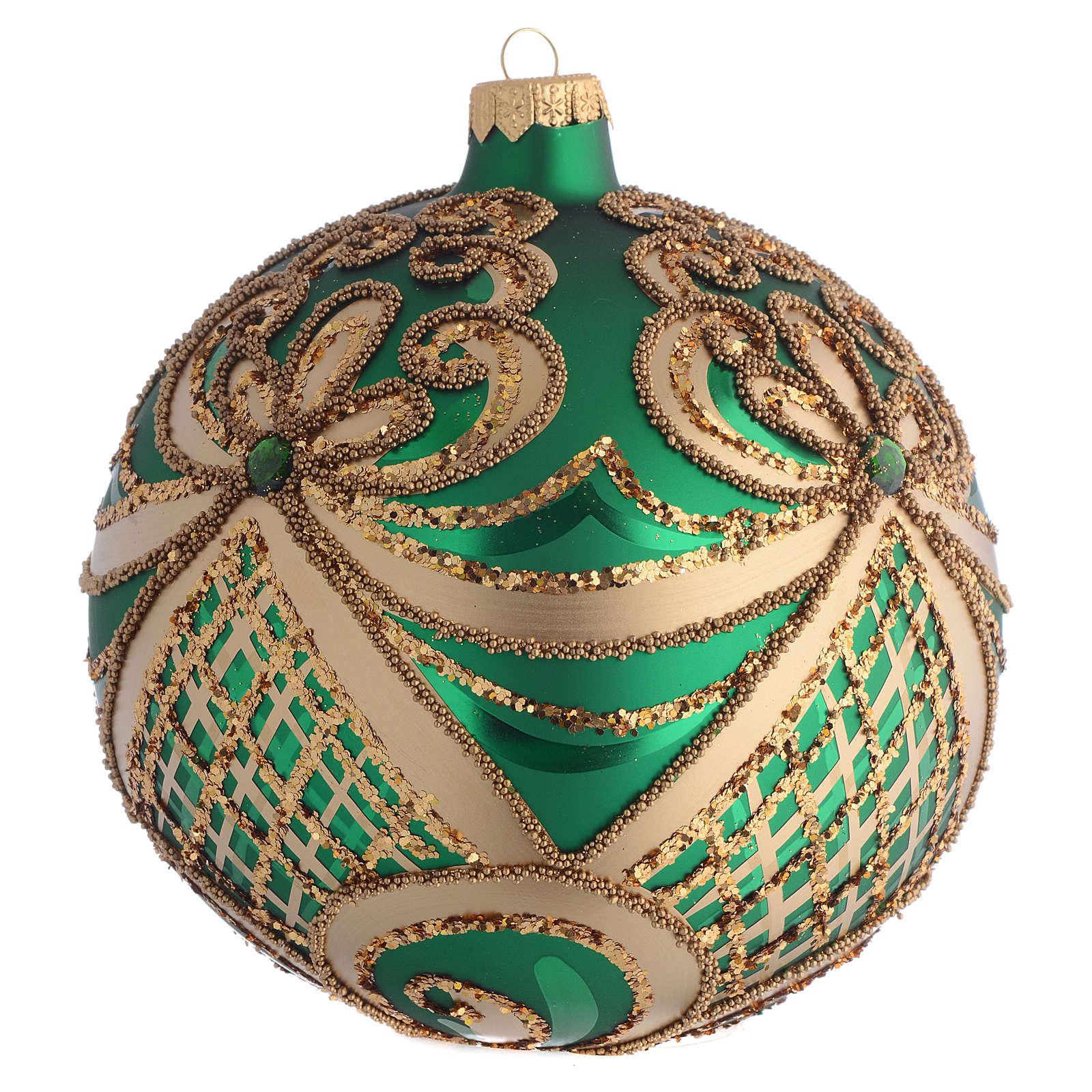 Palla Albero Natale vetro soffiato verde oro 100 mm 4