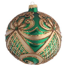 Palla Albero Natale vetro soffiato verde oro 100 mm s2