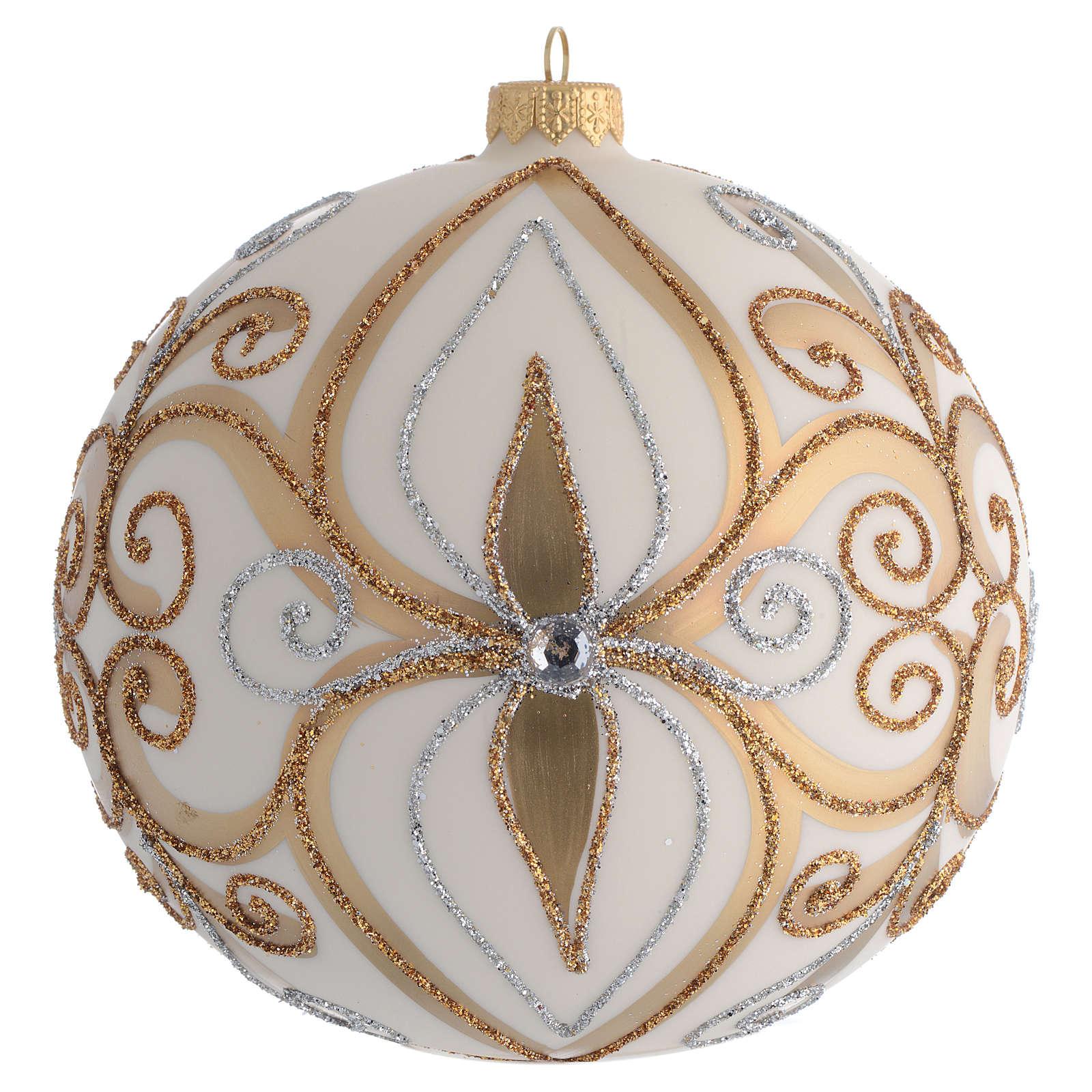 Palla Albero vetro soffiato oro argento avorio 150 mm 4