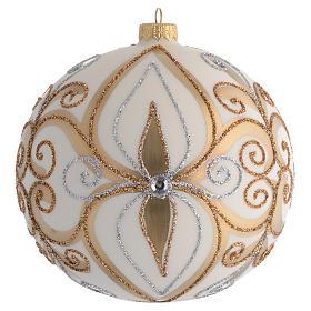Palla Albero vetro soffiato oro argento avorio 150 mm s1