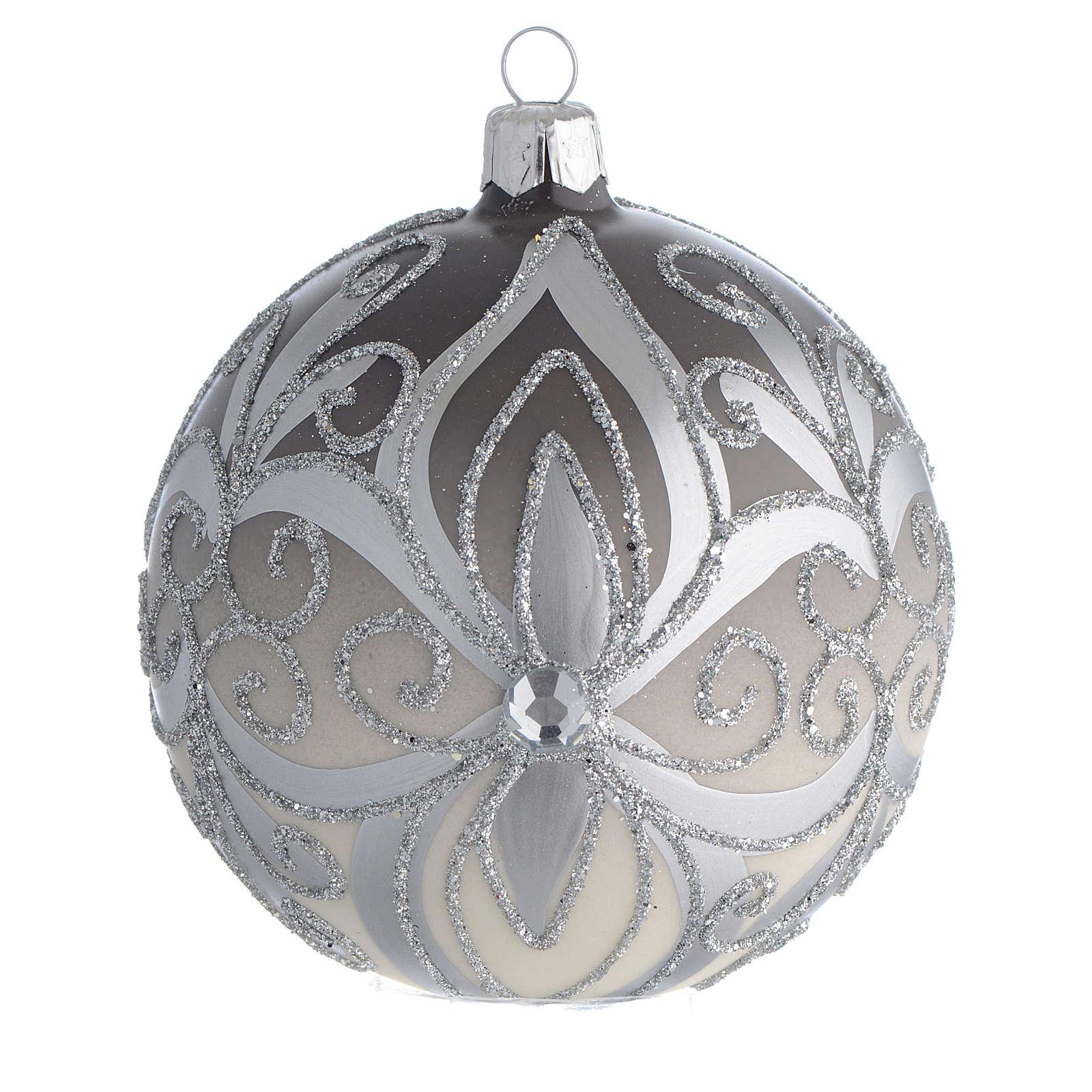Boule sapin Noël verre soufflé argent 100 mm 4