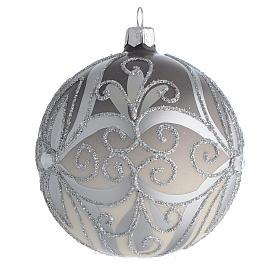Boule sapin Noël verre soufflé argent 100 mm s2