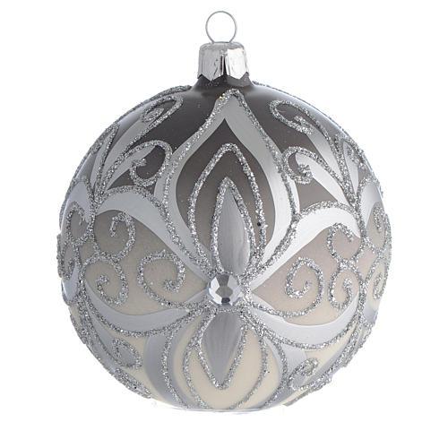 Boule sapin Noël verre soufflé argent 100 mm 1