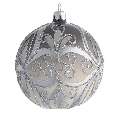 Boule sapin Noël verre soufflé argent 100 mm 2