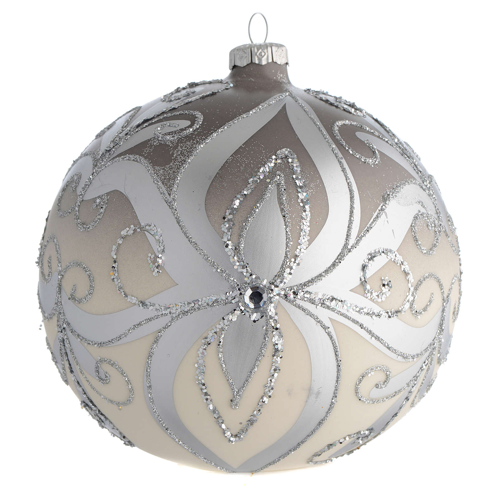 Palla Albero Natale vetro soffiato argento 150 mm 4