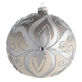 Palla Albero Natale vetro soffiato argento 150 mm s1