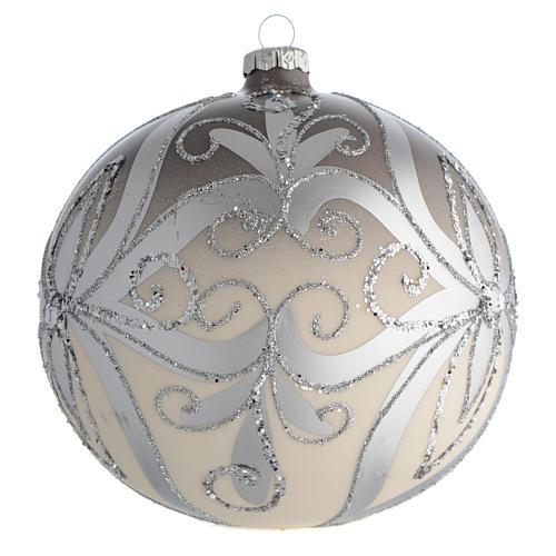 Palla Albero Natale vetro soffiato argento 150 mm 2
