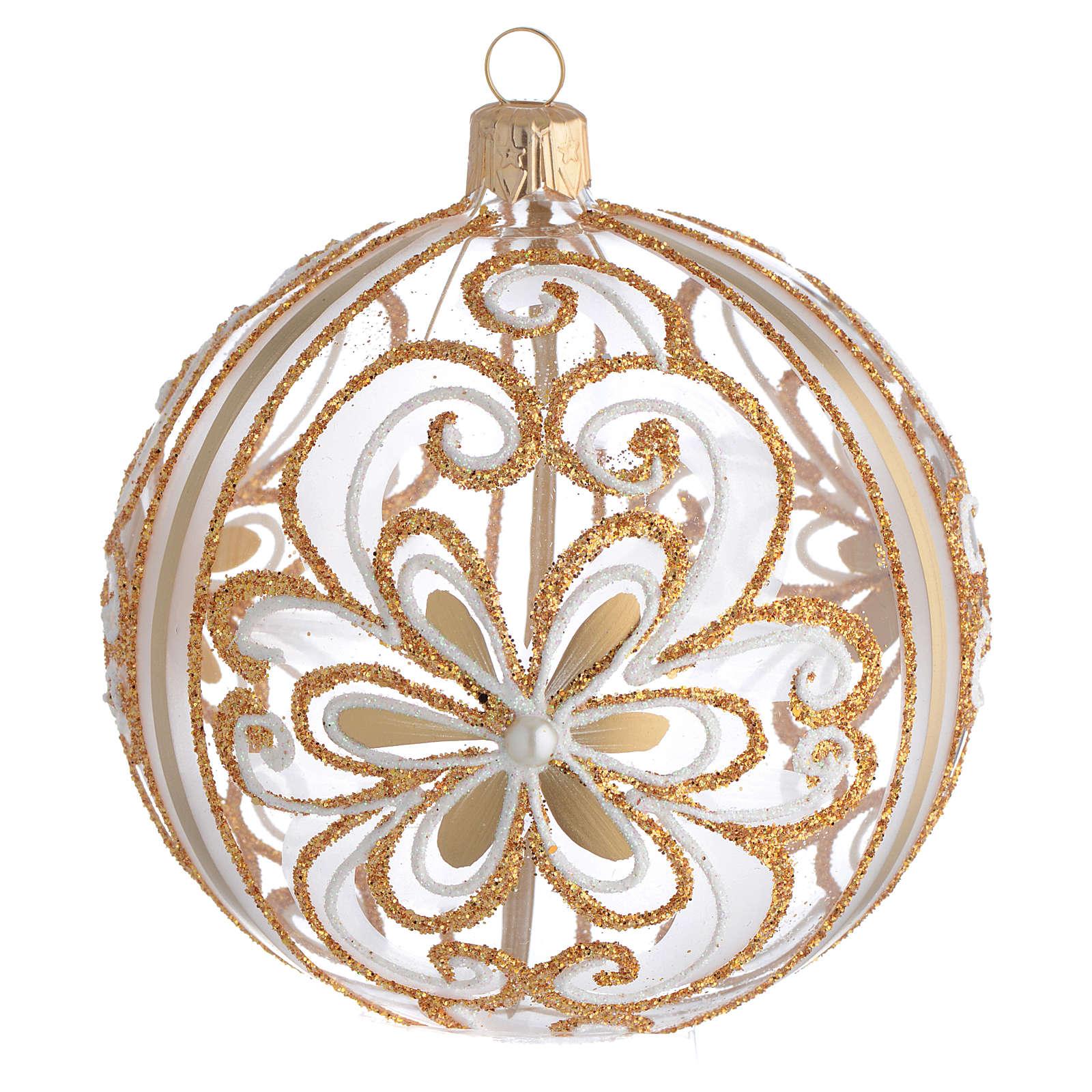 Bola de Navidad vidrio soplado transparente oro y blanco 100 mm 4