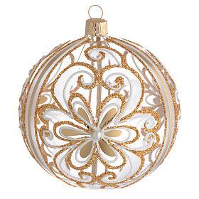 Bola de Navidad vidrio soplado transparente oro y blanco 100 mm s1