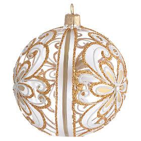 Bola de Navidad vidrio soplado transparente oro y blanco 100 mm s2