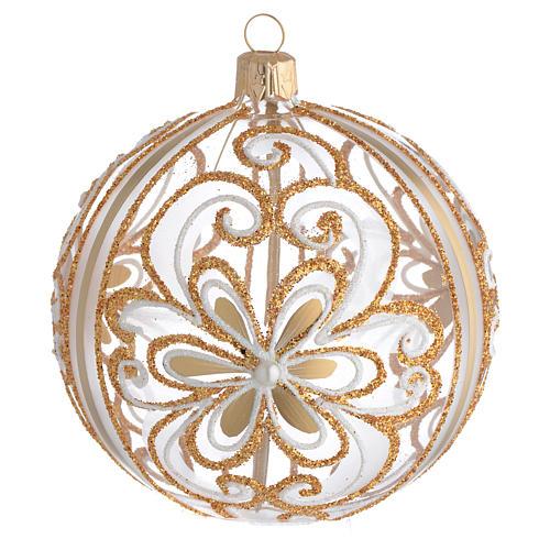 Bola de Navidad vidrio soplado transparente oro y blanco 100 mm 1
