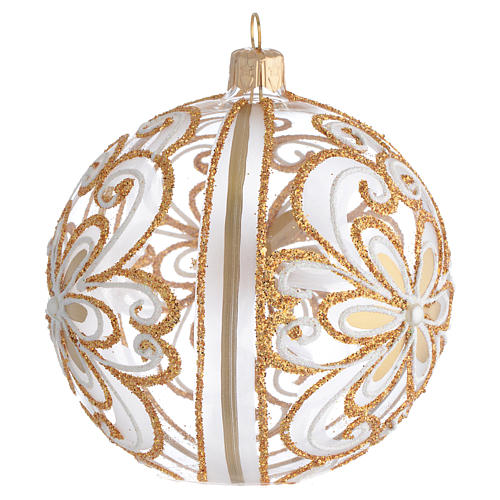 Bola de Navidad vidrio soplado transparente oro y blanco 100 mm 2