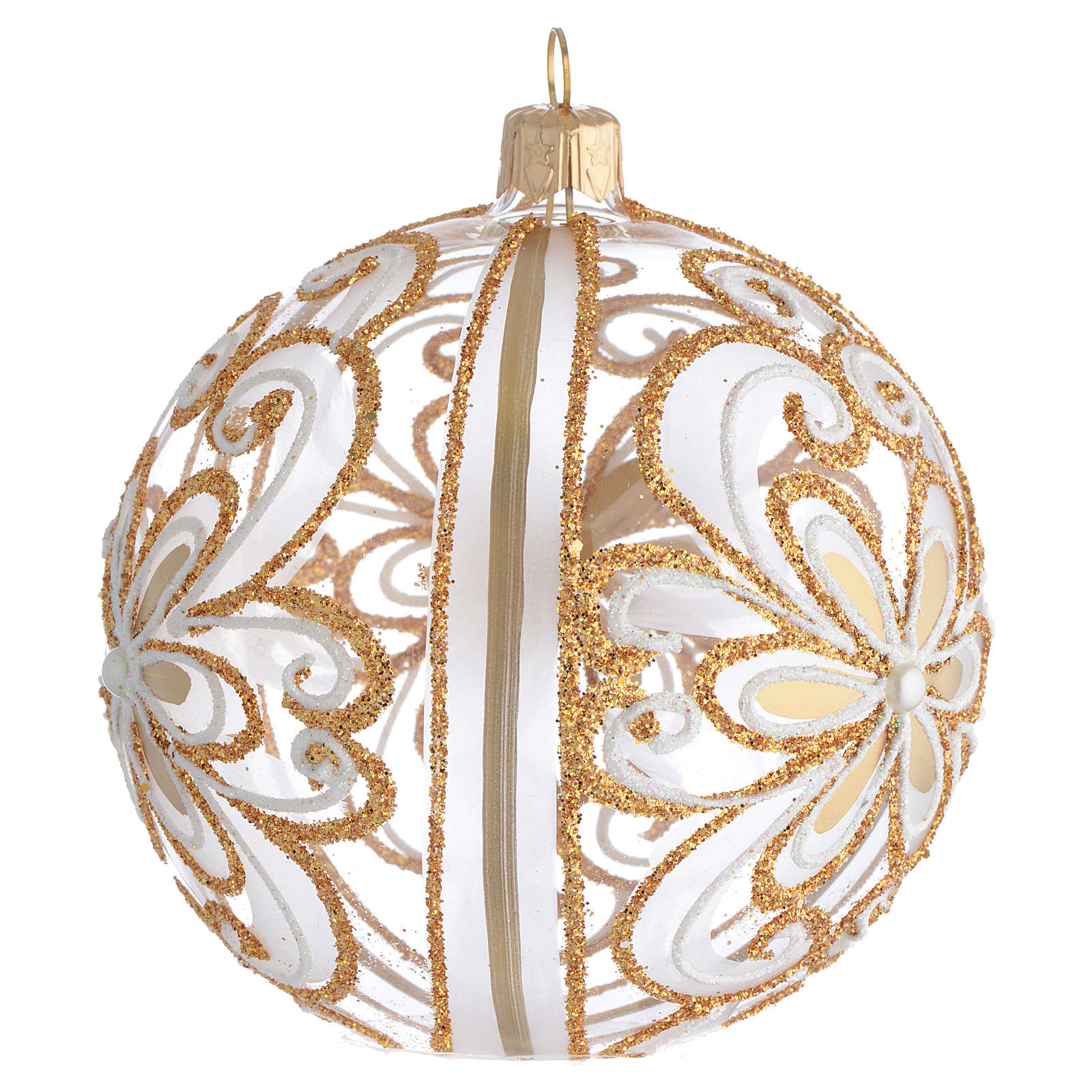 Boule sapin verre transparent or blanc 100 mm 4