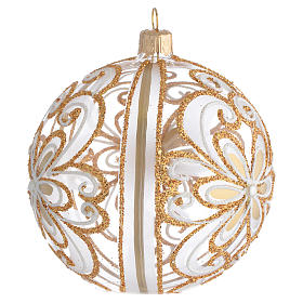 Boule sapin verre transparent or blanc 100 mm s2
