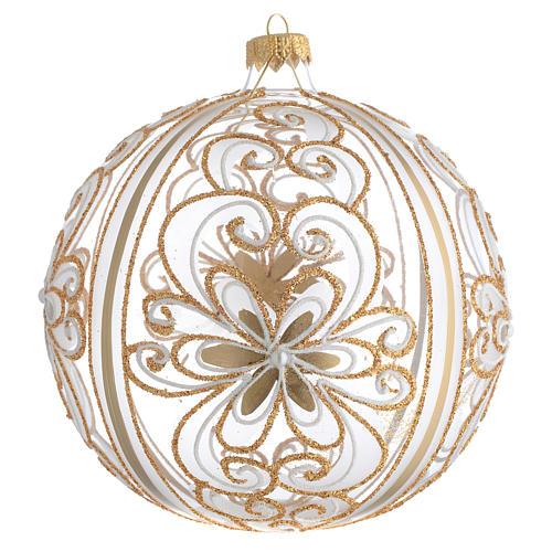 Bola de Navidad vidrio soplado oro y blanco 150 mm 1