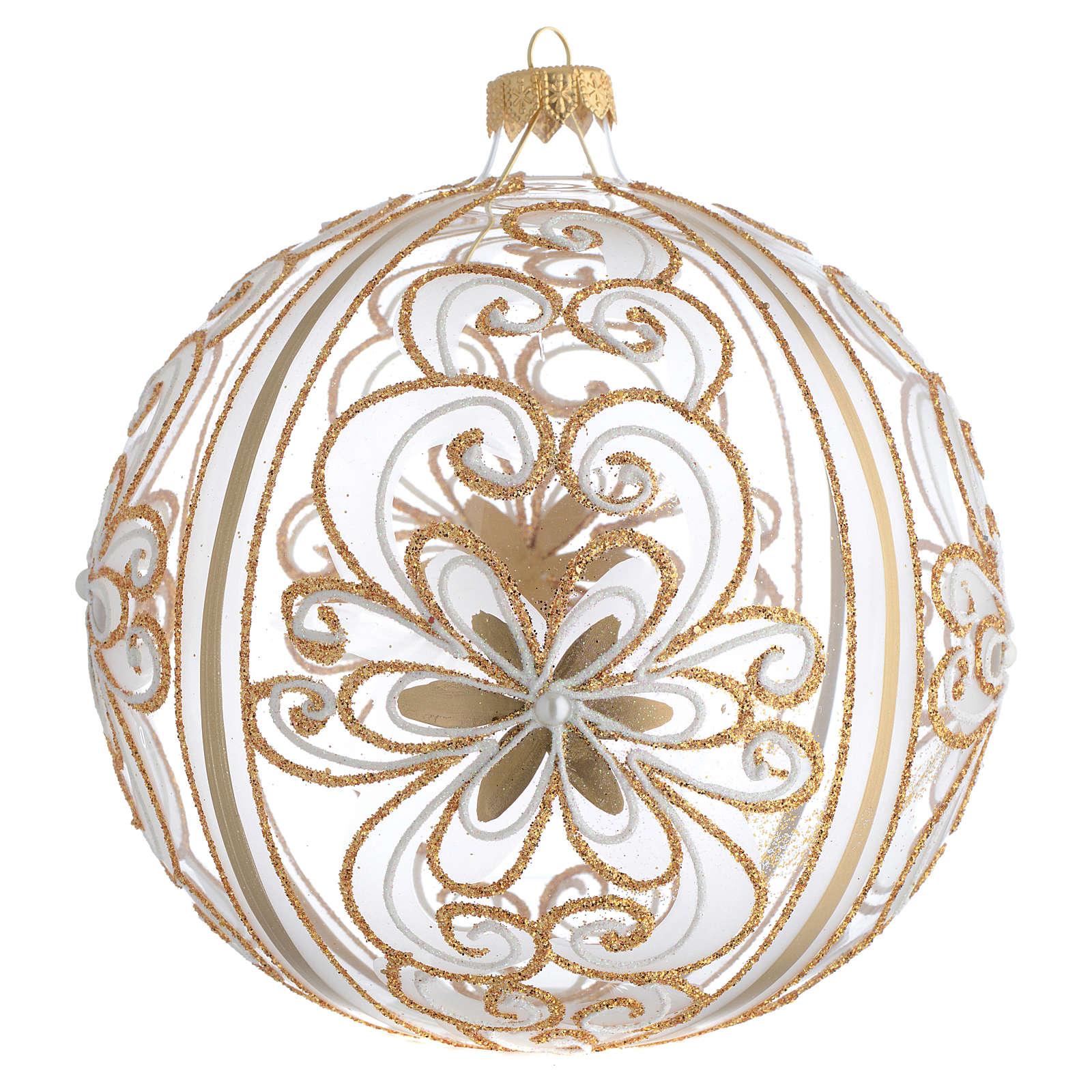 Palla Albero Natale vetro soffiato oro bianco 150 mm 4