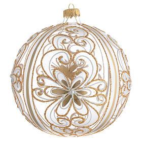 Palla Albero Natale vetro soffiato oro bianco 150 mm s1