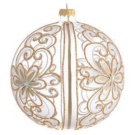 Palla Albero Natale vetro soffiato oro bianco 150 mm s2