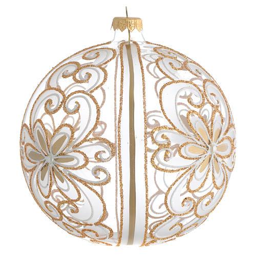 Palla Albero Natale vetro soffiato oro bianco 150 mm 2