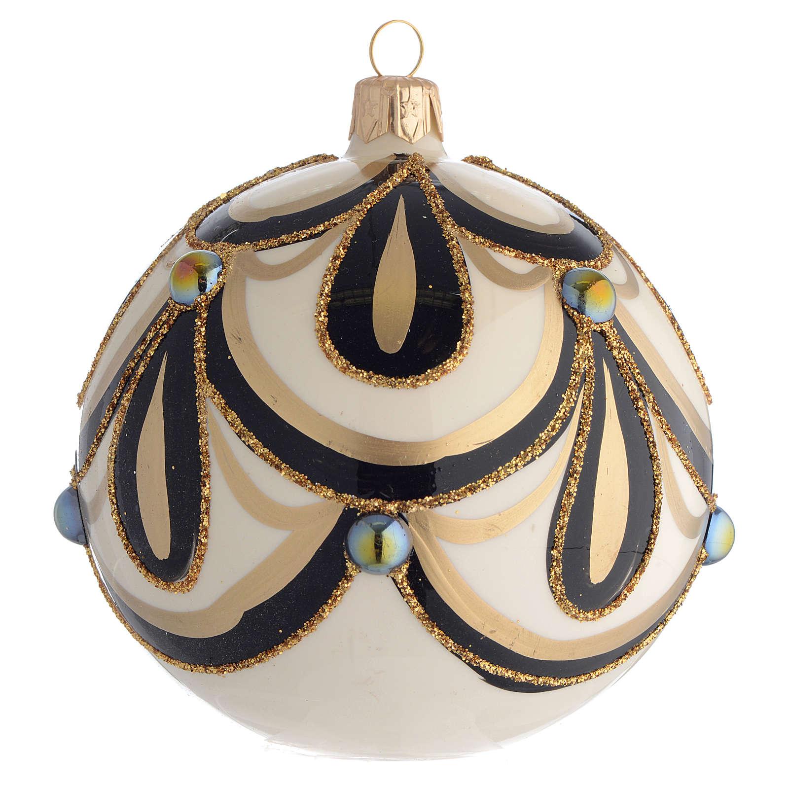Boule de Noël noir or crème 100 mm 4