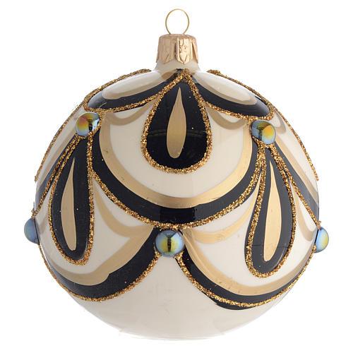 Boule de Noël noir or crème 100 mm 2