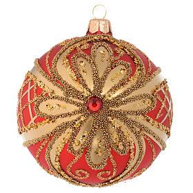 Boules de Noël: Boule de Noël rouge or paillettes 100 mm