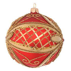 Pallina di Natale rosso oro glitter 100 mm s2