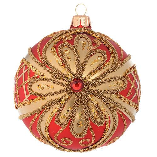 Pallina di Natale rosso oro glitter 100 mm 1