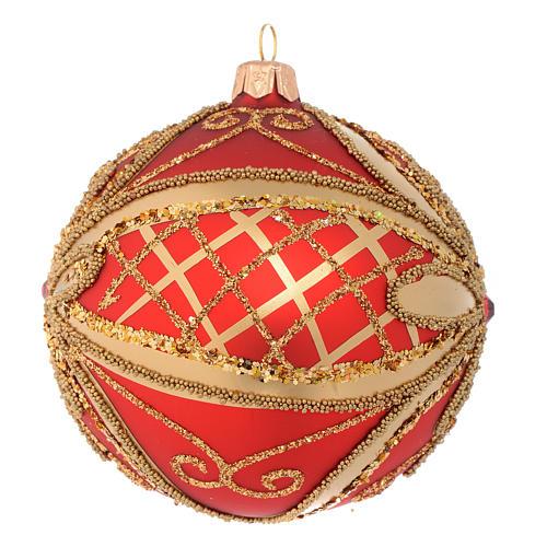 Pallina di Natale rosso oro glitter 100 mm 2
