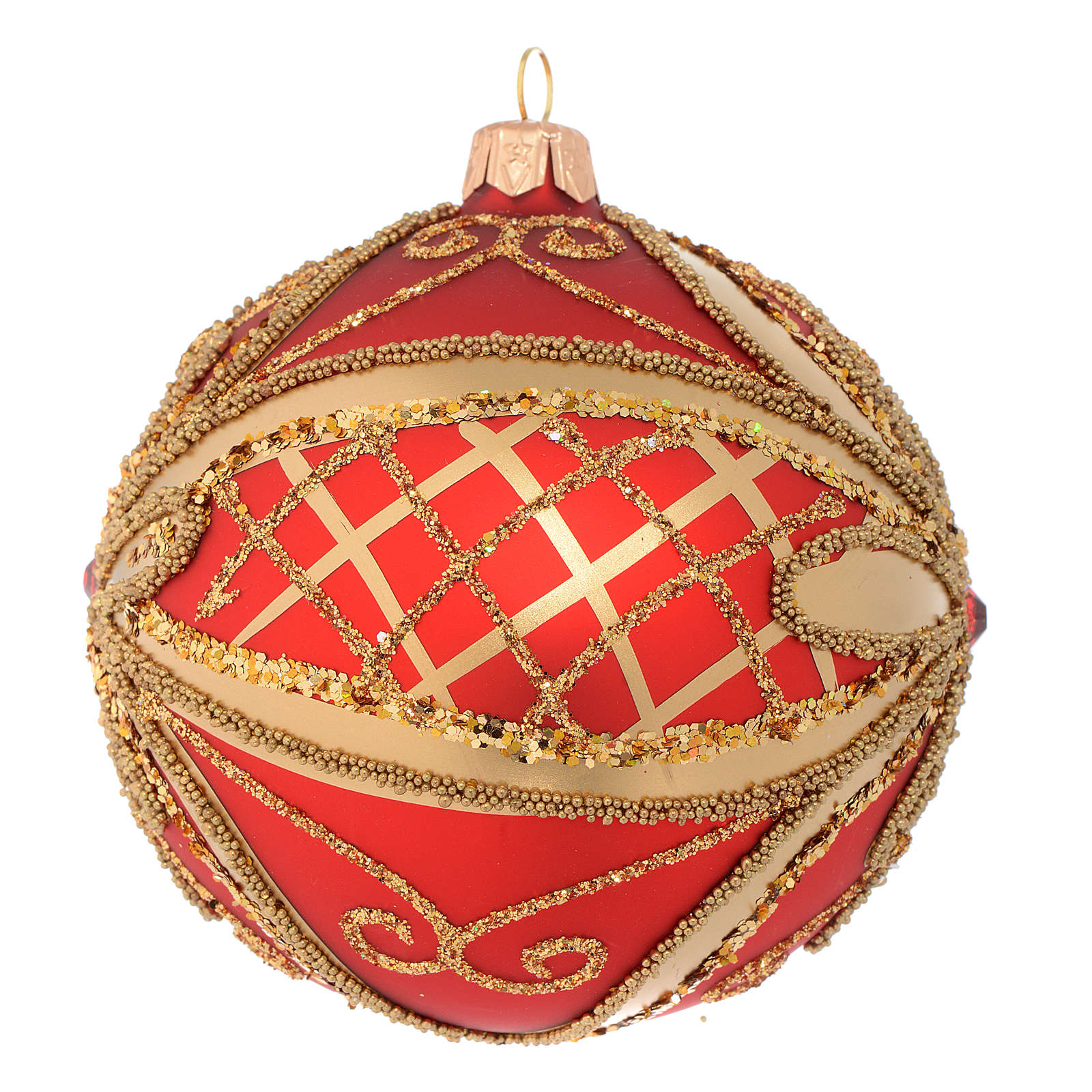 Christmas Bauble glittery red and gold 10cm 4