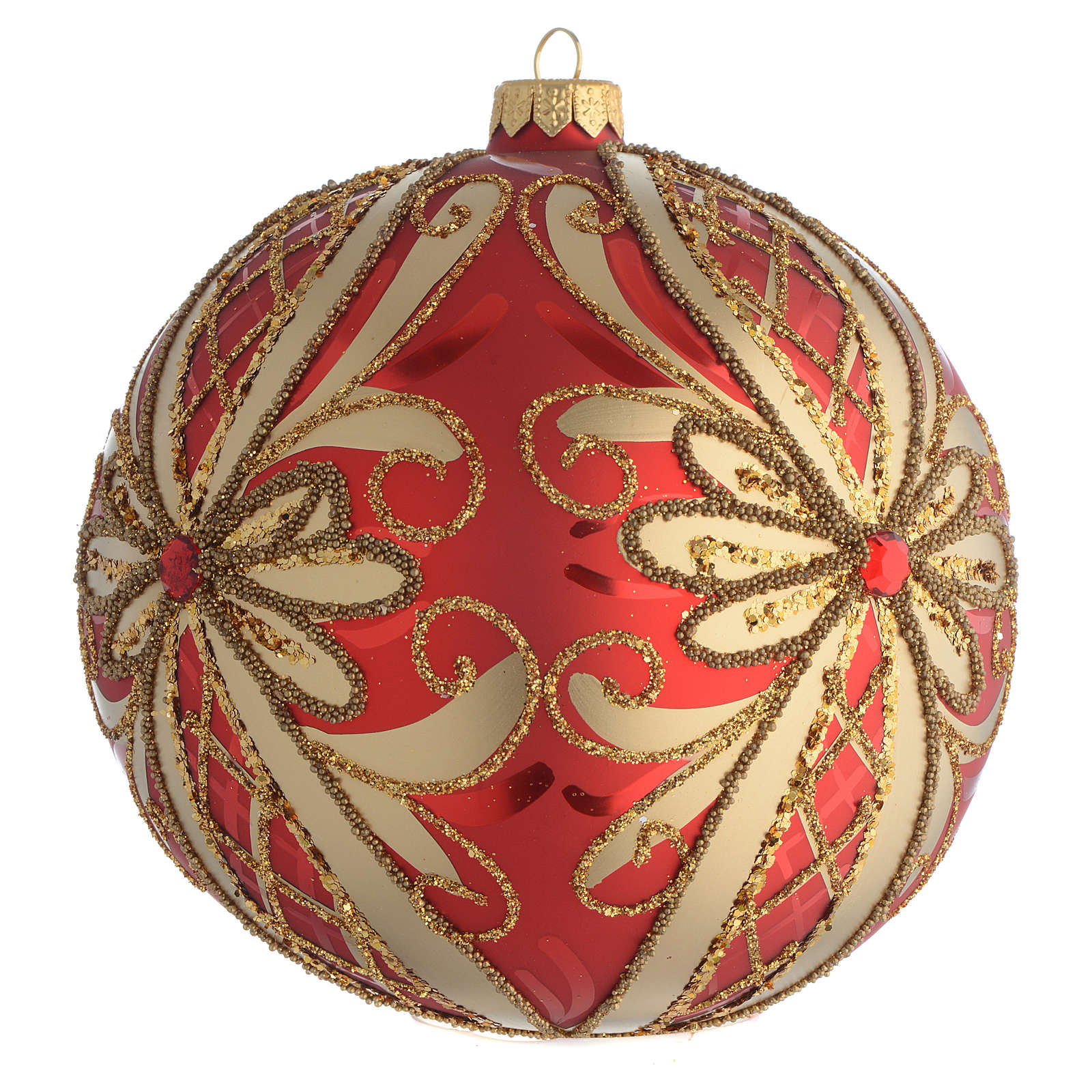 Christmas Bauble glittery red and gold 15cm 4