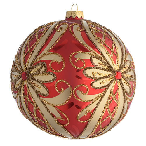 Christmas Bauble glittery red and gold 15cm 2