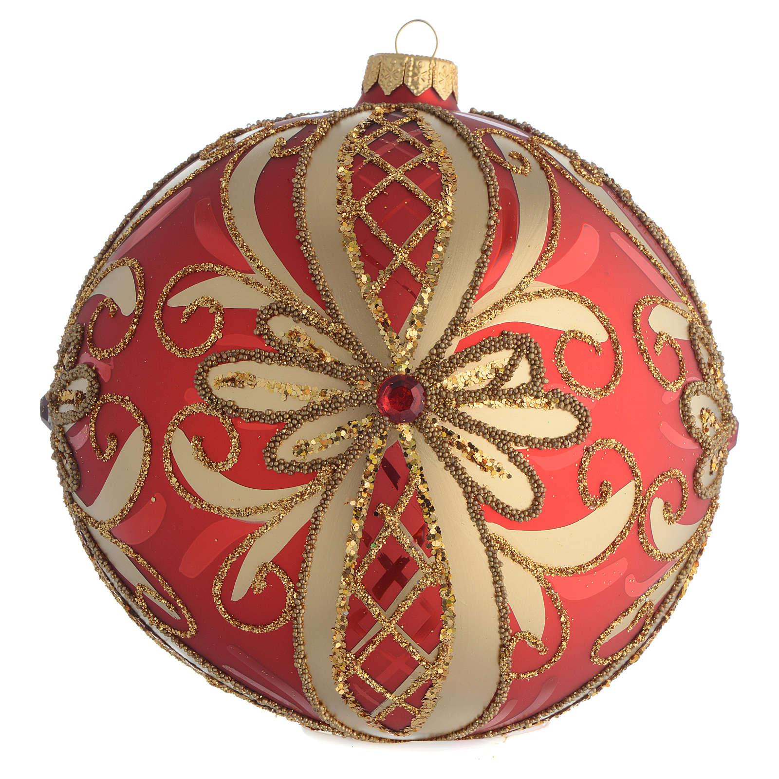 Palla addobbo albero rosso oro glitter 150 mm 4