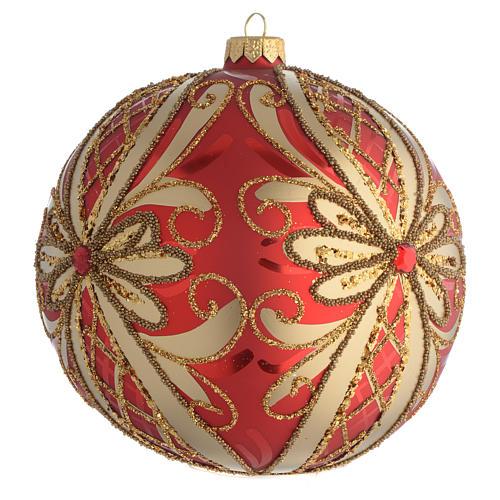 Palla addobbo albero rosso oro glitter 150 mm 2