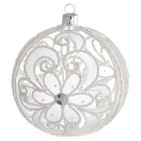 Boule de Noël transparente et blanche 100 mm s1