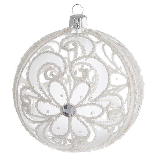 Boule de Noël transparente et blanche 100 mm 1
