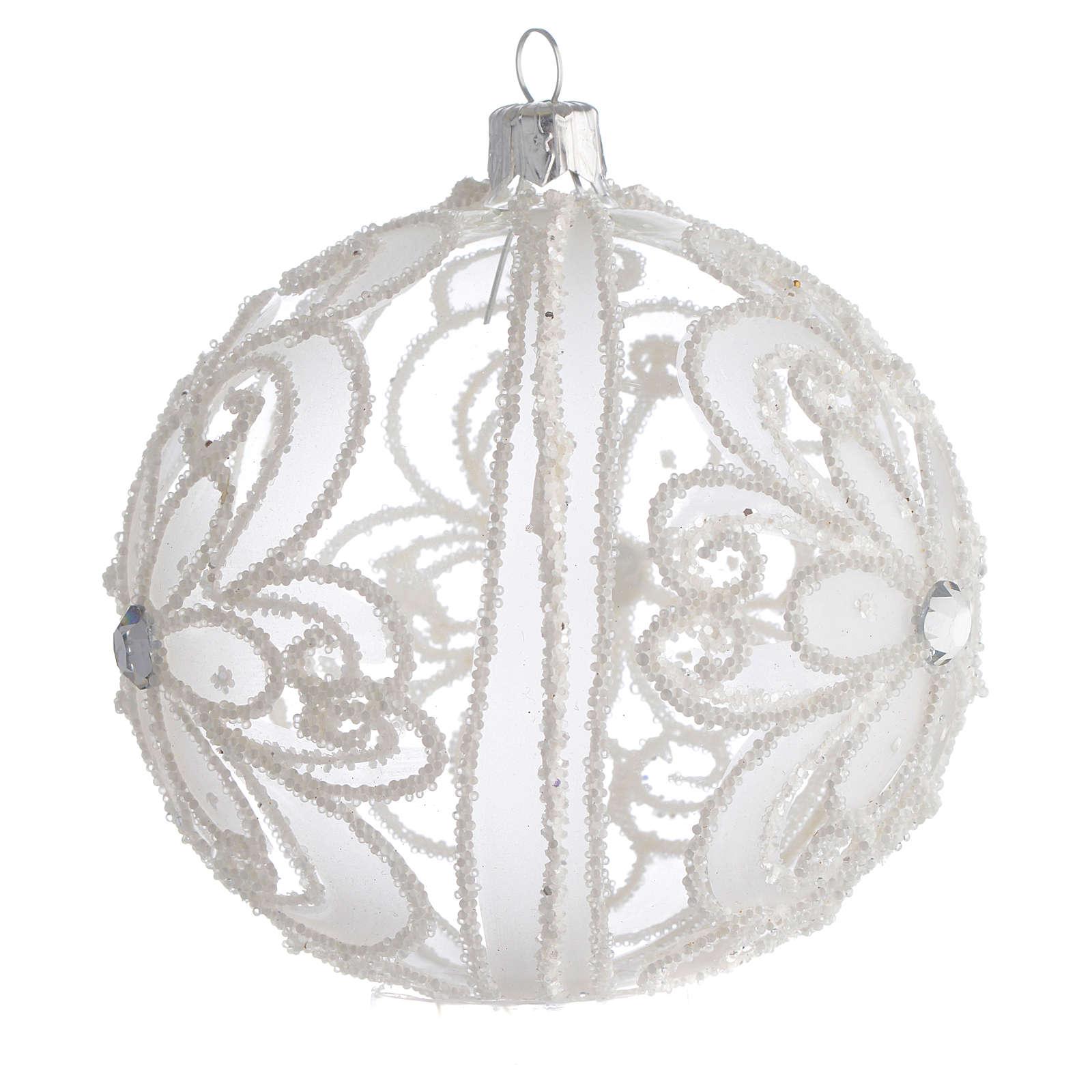 Pallina di Natale trasparente e bianca 100 mm 4