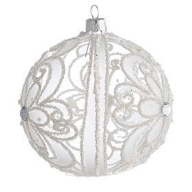 Pallina di Natale trasparente e bianca 100 mm s2