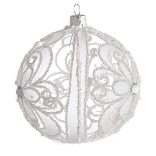 Pallina di Natale trasparente e bianca 100 mm 2