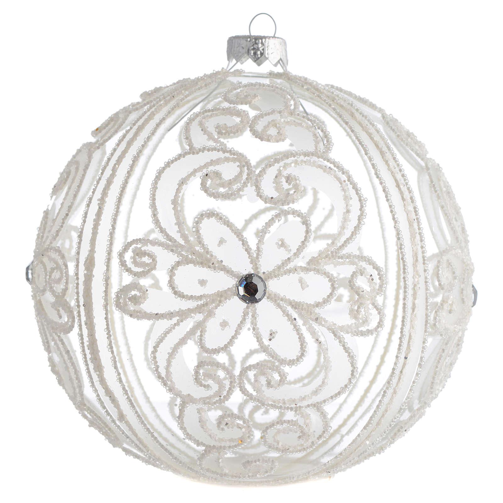 Boule de Noël décor transparent et blanc 150 mm 4