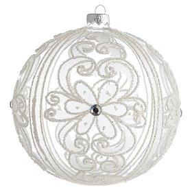 Boule de Noël décor transparent et blanc 150 mm s1