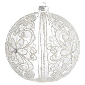 Boule de Noël décor transparent et blanc 150 mm s2