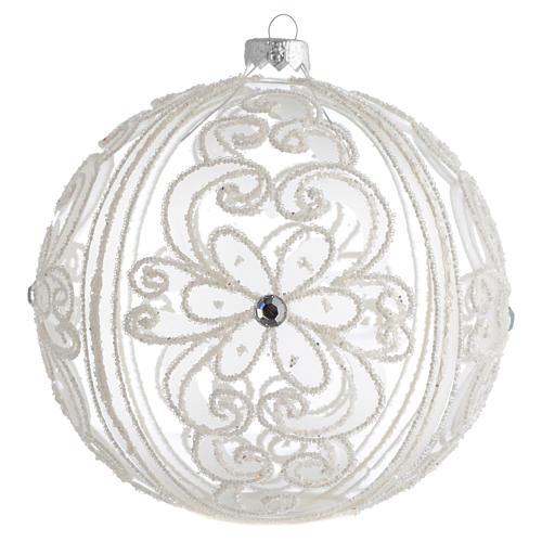 Boule de Noël décor transparent et blanc 150 mm 1