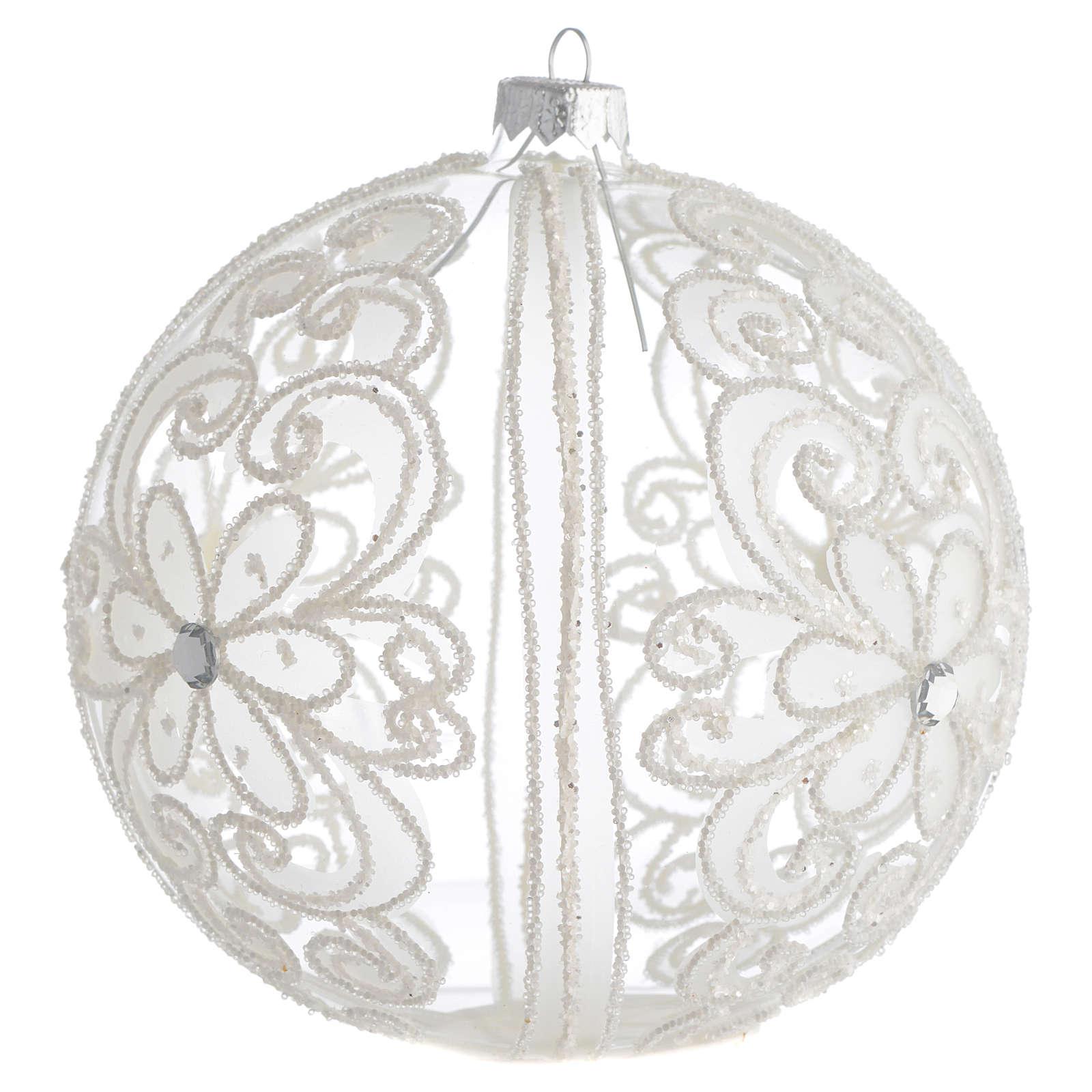 Palla addobbo albero trasparente e bianca 150 mm 4