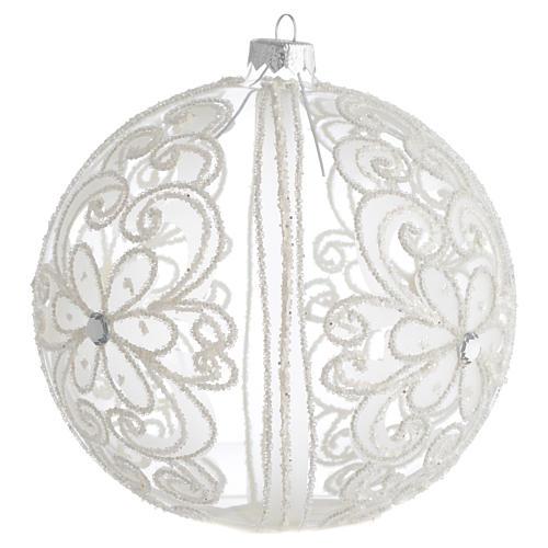 Palla addobbo albero trasparente e bianca 150 mm 2