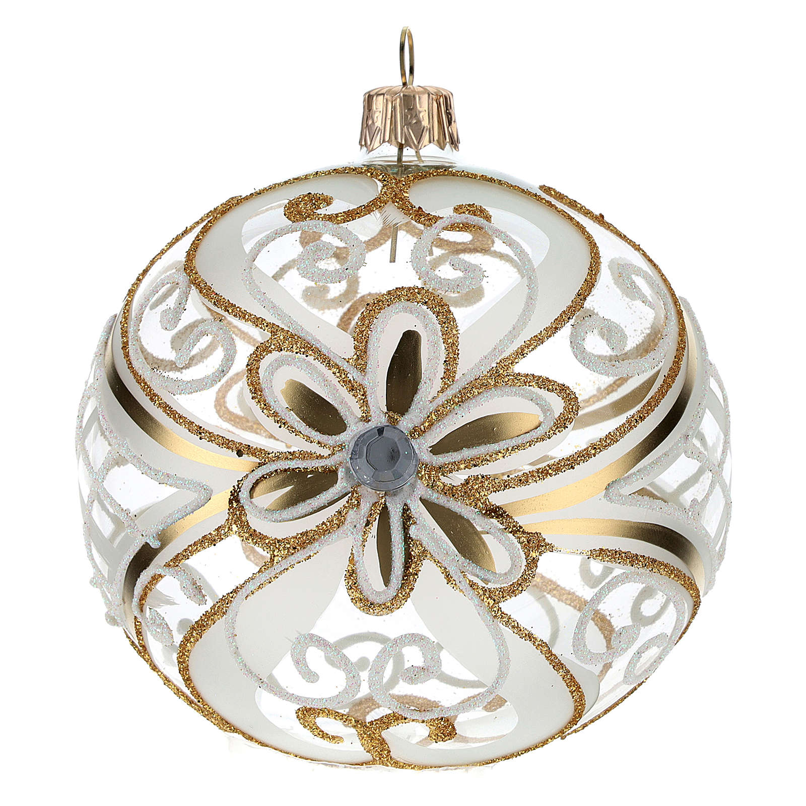 Christmas Bauble gold and white, transparent 10cm 4